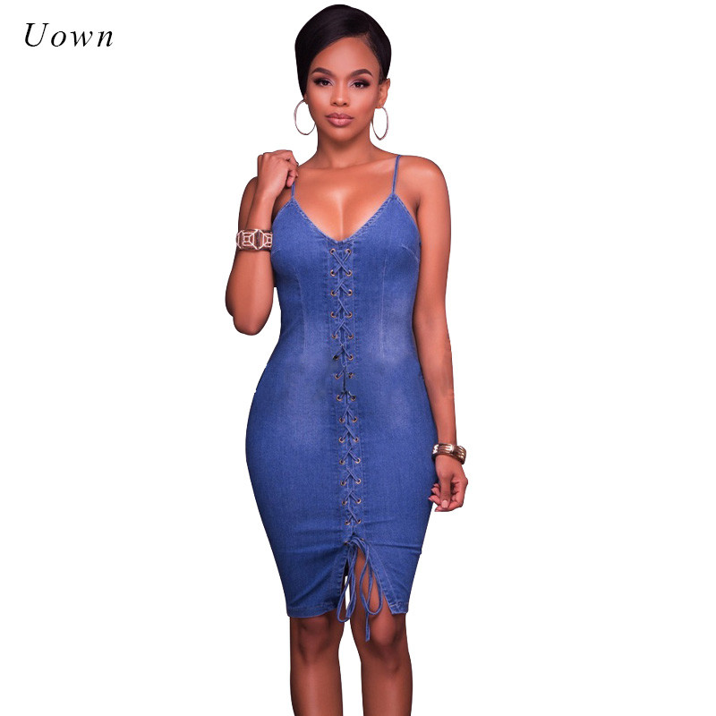 f478f0aa86 Lace up Sexy Denim Dresses Women Summer Spaghetti Strap Slim Bodycon  Stretch Blue Jeans Dress Night out Club Party Outfits 2018-in Dresses from  Women s ...