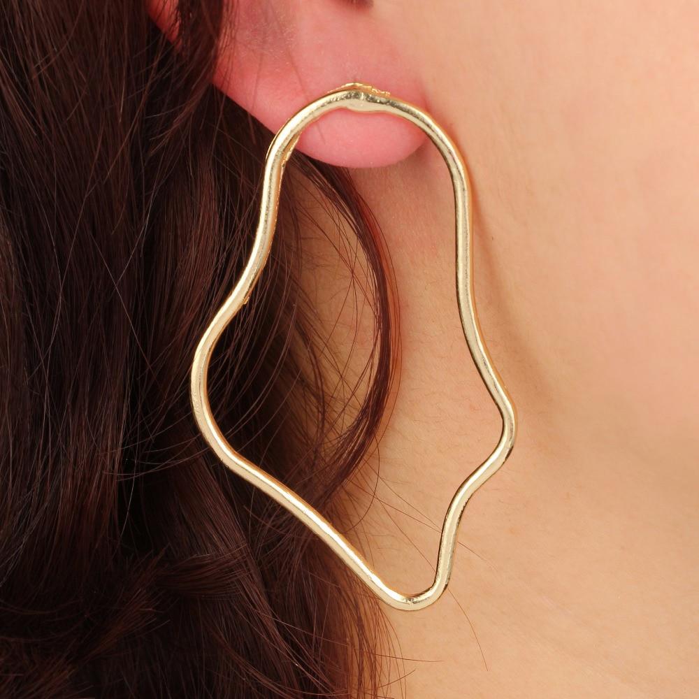 ULEX Boho Sea Wave Earring Greometric Irregular Gold Silver Drop Sufer Earrings for Women Girl Metal Piercing Earring 5015