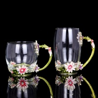 Classical Enamel Glass Milk Coffee Mug With Daisy Design Luxury Crystal Glass Scented Tea Juice Cups With Spoon And Gift Box