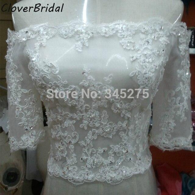 60f7c2ea3de Actual pictures ivory off shoulder short sleeves beaded lace plus size  bridal bolero jacket women noiva wedding accessories
