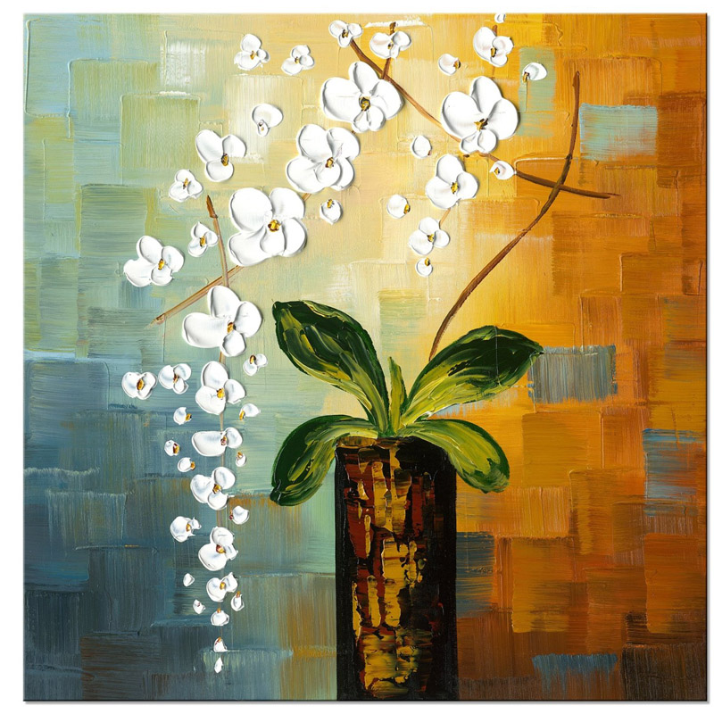 Home Decor Flower Oil Painting on Canvas Handmade Modern Abstract Wall Art Hand Painted Floral Paintings Pallete Knife For Sale