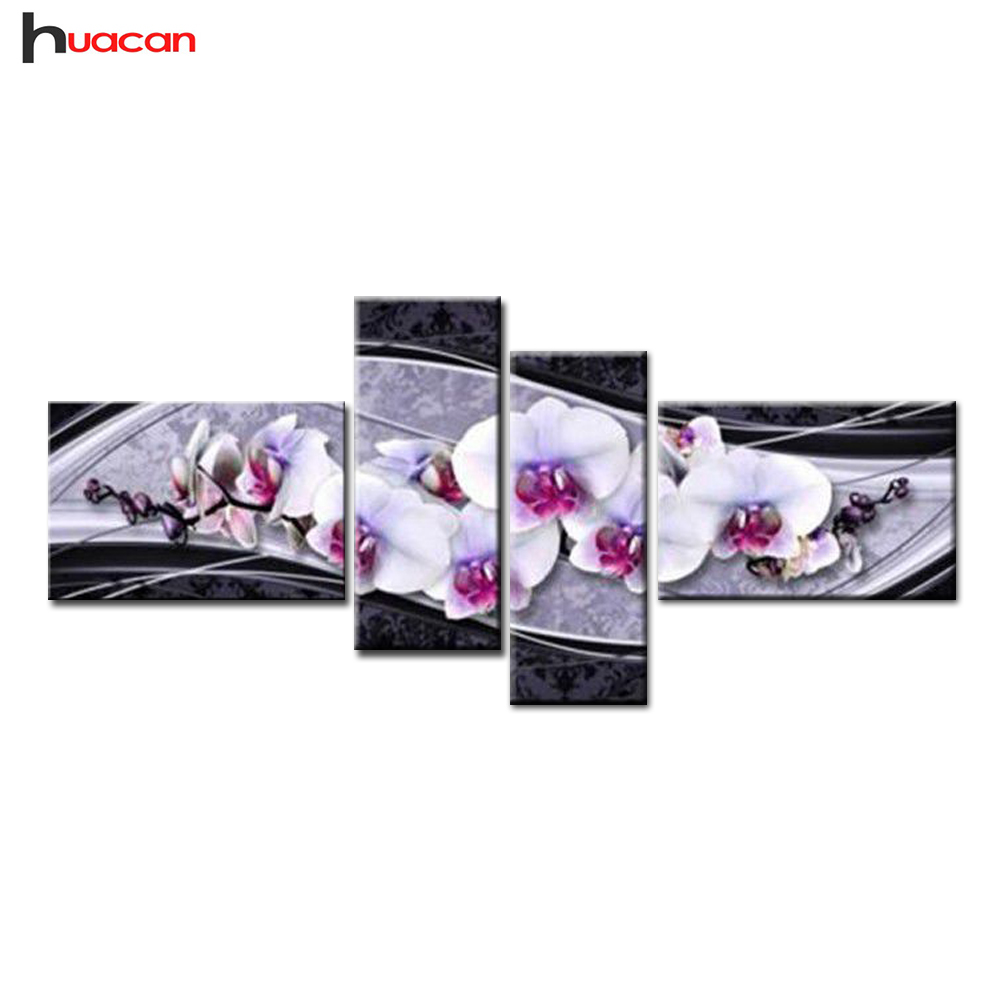 HUACAN novas artes DIY 5D diamante bordado ponto cruz pintura diamante casa presentes decorativos moda flor 4 pcs needlework