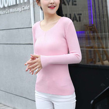 2018 Korean Sweater Autumn Winter New Womens Basic Sweaters Female V Neck Knitted Sweater Jersey Ladies Pullover Jumper Femme(China)