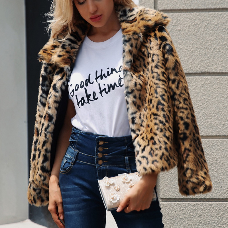 2018 Frauen Hohe Qualität Luxus Faux Pelzmantel Herbst Winter Künstliche Faux Pelzmantel Leopard Plüsch Revers Jacke Casaco Feminino