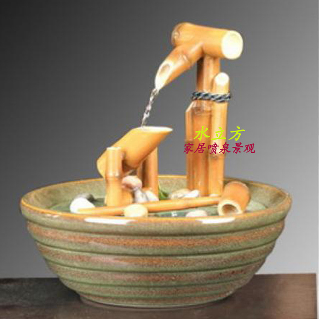 Lucky bamboo water fountain humidifier water aquarium fish pond lucky bamboo water fountain humidifier water aquarium fish pond waterscape ornaments decoration indoor crafts workwithnaturefo