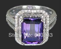 SOLID 14 К Белое золото природных алмазов Аметист Engagemen обручальное кольцо