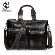 SEVEN SKIN Brand Men Genuine Leather Bag Business Men Bags Briefcase Luxury Shoulder Bags Laptop Crossbody Messenger Bag Handbag