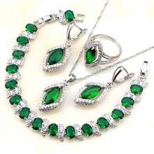 Lozenge Green Cubic Zirconia White Rhinestones 925 Sterling Silver Women Jewelry Sets Earrings/Pendant/Necklace/Ring/Bracelet