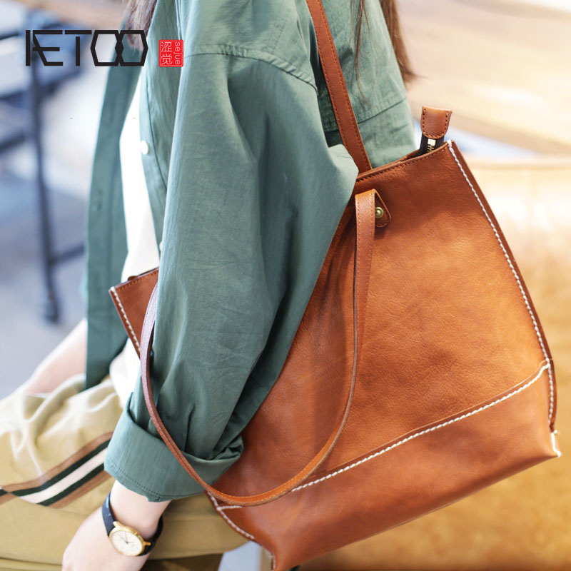 AETOO New handmade vegetable tanned cowhide tote bag vertical female big bag student soft leather retro brown leather shoulder aetoo spring and summer new leather handmade handmade first layer of planted tanned leather retro bag backpack bag