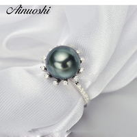 AINUOSHI Halo 10mm Black Tahitian Cultured Pearl Ring 925 Sterling Silver Halo Natural Round Pearl Ring