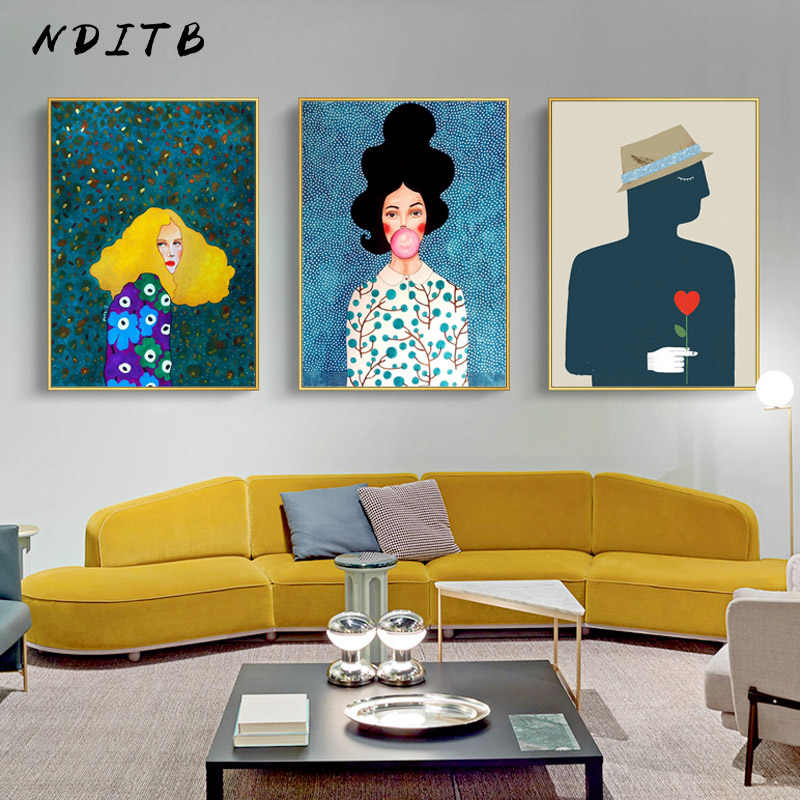 Bubble Girl Fashion Wall Poster Abstract Canvas Print Contemporary Art Painting Decorative Picture Modern Living Room Decor