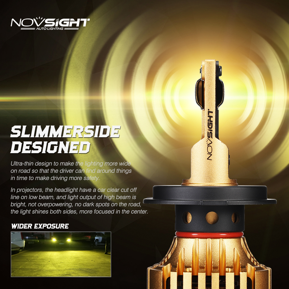 NOVSIGHT Car <font><b>Led</b></font> Headlight <font><b>Bulbs</b></font> <font><b>H4</b></font> <font><b>LED</b></font> H7 H1 H3 H11 H13 9005 9006 9007 72W 12000lm Automobile Headlamp <font><b>Led</b></font> 3000K Golden <font><b>Yellow</b></font> image
