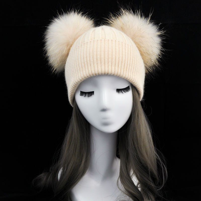 Women Winter Fashion Fur Pompom Hat for Girls Crochet Beanie Hats for Adults Knitted Wool Double Two Pompon Fur Hat women s winter beanie hat wool knitted cap shining rhinestone beanie mink fur pompom hats for women