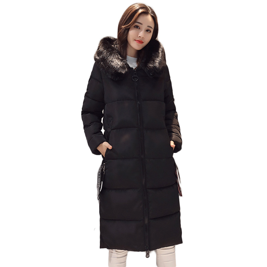 Free Shipping Cotton Lady Long Section 2017 New Large Size Fur Collar Cotton Parkas Jacket Wholesale Winter Coat D80 2015 real promotion space cotton coat jacket bolsa cherry free herbal tea wholesale agent huang ju oem processing one generation