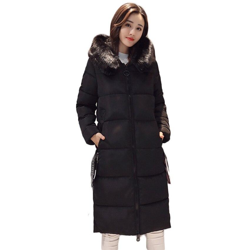 цена на Free Shipping Cotton Lady Long Section 2017 New Large Size Fur Collar Cotton Parkas Jacket Wholesale Winter Coat D80