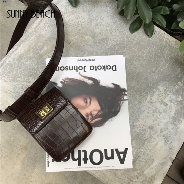 SUNNY BEACH Vintage Wallet Bag Women Waist Pack Alligator Leather Belt Bag Waist Bag Shoulder Bag Mini small Handbag Waistpack