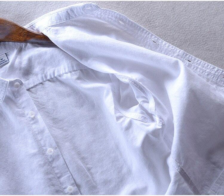 2017 uus moe vabaaja linane särk meestele valge tahke pikkade - Meeste riided - Foto 6