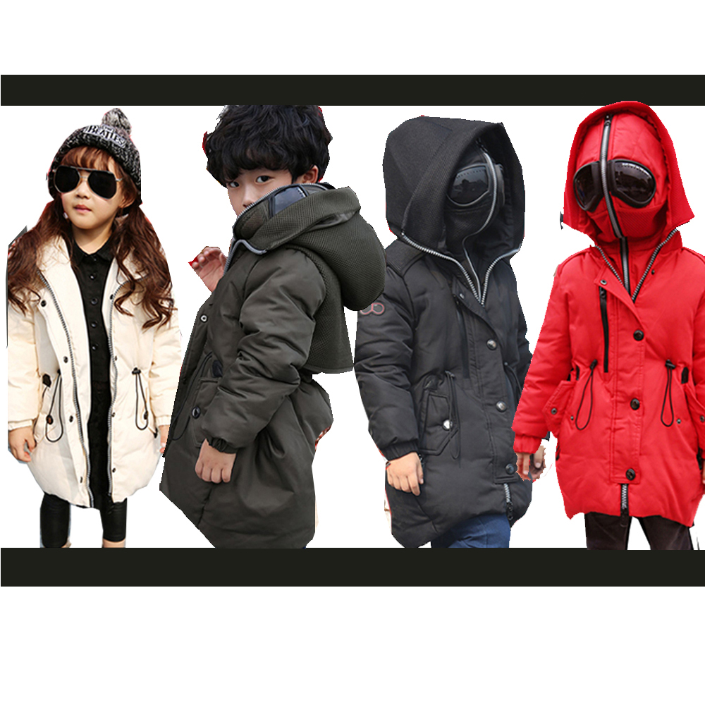 Girls Winter Coat Jacket With Glasses Jacket for Girls Down Coat Boys Snowsuit 4 Colors Solid