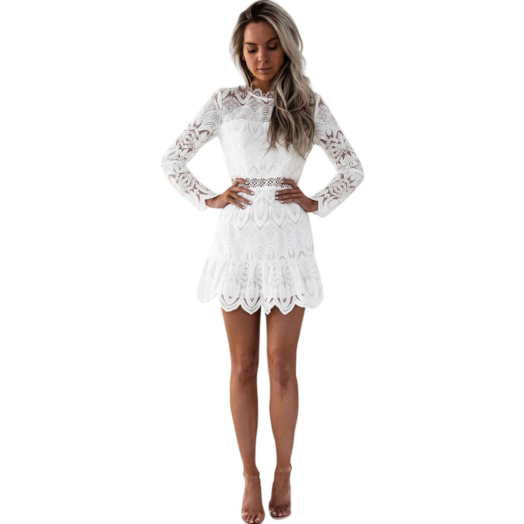 Detail Feedback Questions about Vintage 2018 Sexy Lace Mini Dress Women  White Black Long Sleeve Short Ladies Bodycon Dress Tunic See Through Party  Dresses ... 01ed605f8