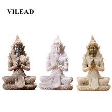 VILEAD 4.3 Nature Sandstone Thailand Buddha Statuettes Meditation Figurine Fengshui Sculpture Miniatures Vintage Home Decor