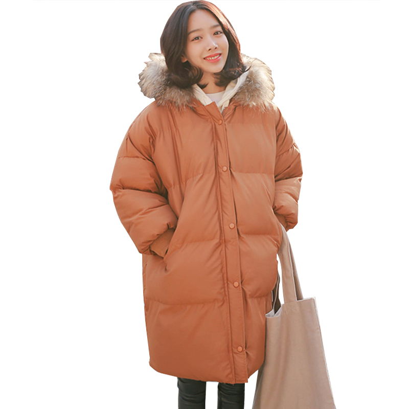 2017 Autumn Winter Jacket Women Parkas for Coat Fashion Female Down Jacket With a Hood Large Faux Fur Collar Coat fashion 2016 lengthen parkas female women winter coat thickening down winter jacket women outwear parkas for women winter w0033