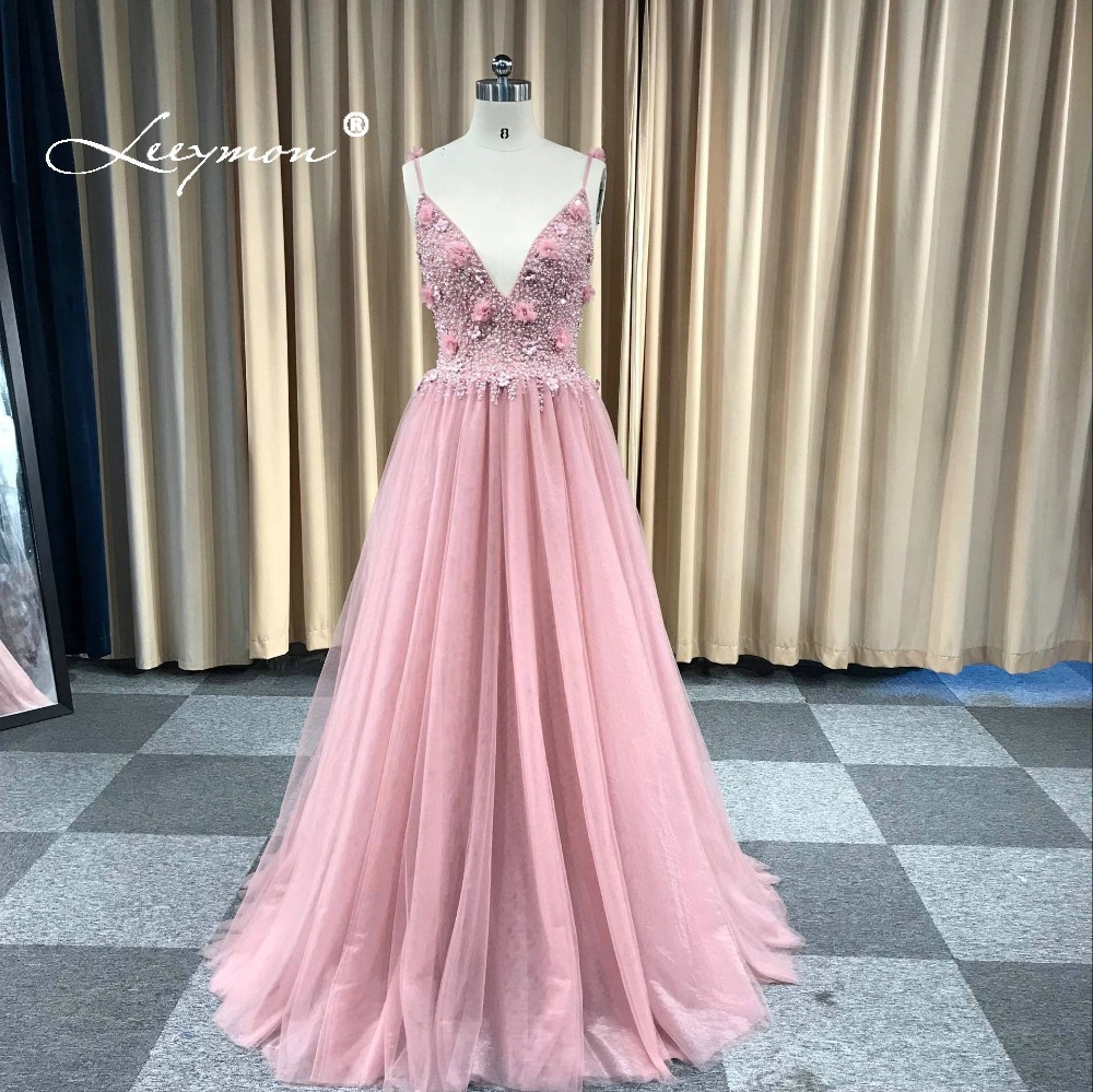 Leeymon Custom Made 2020 Sexy Backless Luxury Beaded 3D Flowers Tulle Prom Dress Floor-Length Party Dress