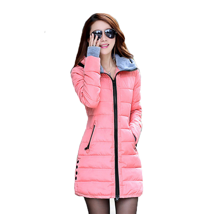 2017 Wholesale Winter Thicker Coats for Pregnant Women White Duck Down Jackets Zip Collar Hooded Girls Clothes Black Long Style