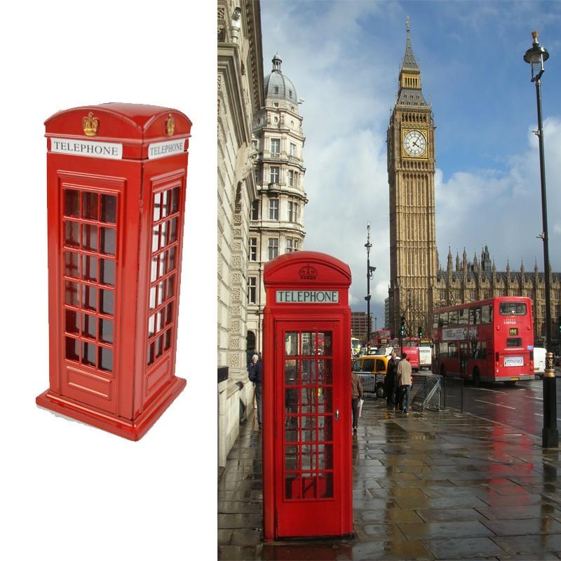 Juguete de regalo para niños inglés británico Metal ahorre dinero moneda Piggy London Street cabina telefónica roja Banco recuerdo caja tarro
