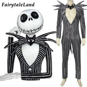 Image 1 - La pesadilla antes de Navidad Jack Skellington Cosplay disfraz carnaval disfraz de Halloween fantasía traje de rayas negras hecho a medida