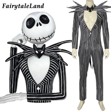 The Nightmare Before Christmas Jack Skellington Cosplay Costume Carnival Halloween Costume Fancy Black Stripe Suit Custom Made