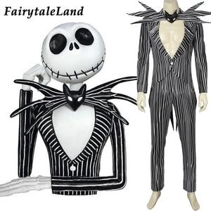 Image 1 - The Nightmare Before Christmas Jack Skellington Cosplay Costume Carnival Halloween Costume Fancy Black Stripe Suit Custom Made