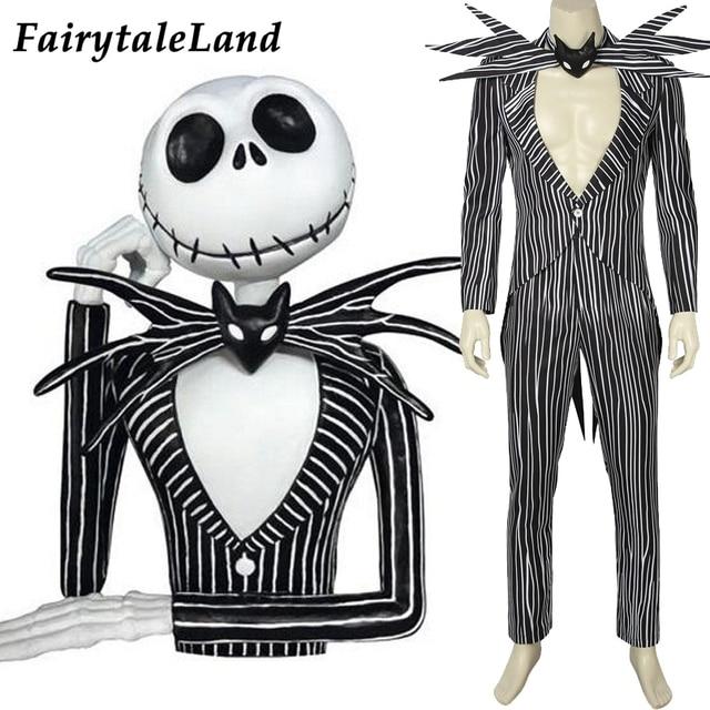The Nightmare Before Christmas Jack Skellington Cosplay Costume Carnival Halloween Costume Fancy Black Stripe Suit Custom Made