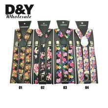 "1Inch Wide ""Flower"" Pattern Fashion Suspenders Women`s Men`s Unisex Clip-on Braces Y- black Elastic Suspender Retail & Wholesale"