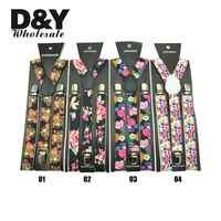 "New 1Inch Wide 9 Fashion ""Flower"" Pattern Mix Suspenders Women`s Unisex Clip-on Braces Y-back Elastic Suspender Retail&Wholesale"