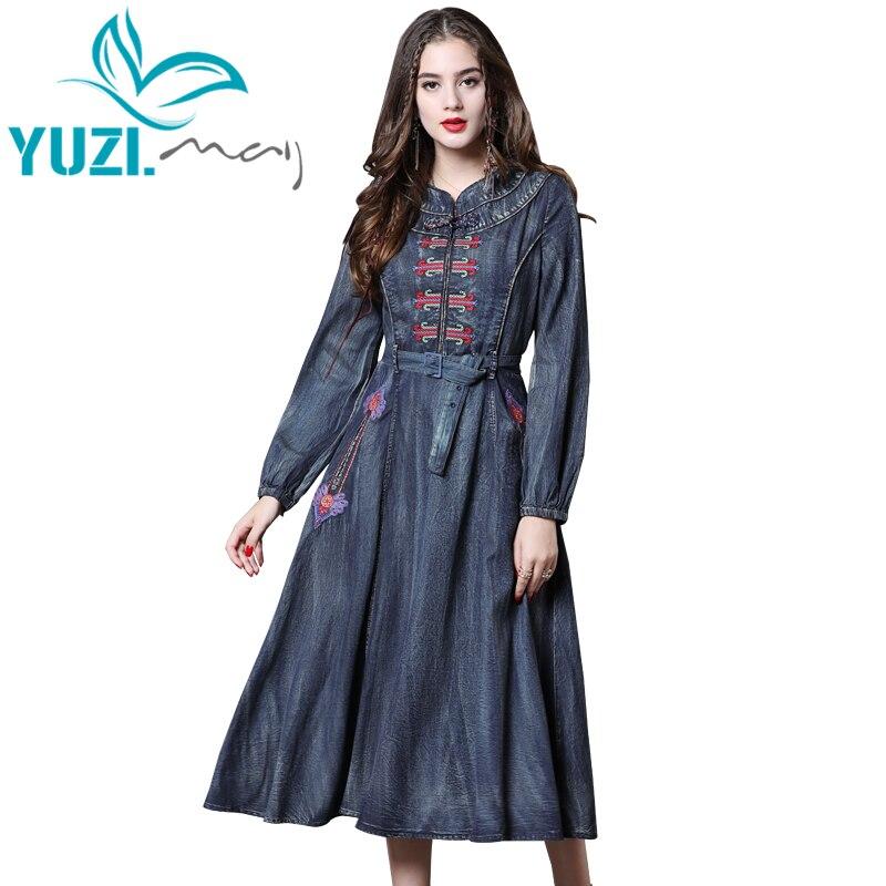 Dress Women 2018 Yuzi may Boho New Denim Vestidos Stand Collar Lantern Sleeve Vintage Embroidery Belted