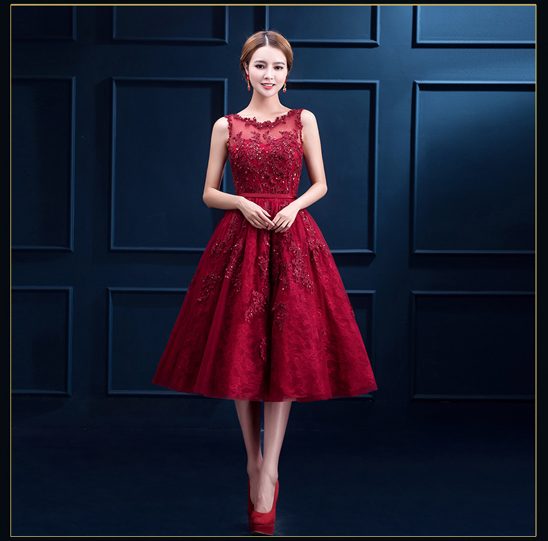 2018 Robe De Soiree New Wine Red Lace Embroidery Sleeveless A line short  Bridesmaid Dresses Elegant Party Formal Prom Dress-in Bridesmaid Dresses  from ... fe2cee1d0