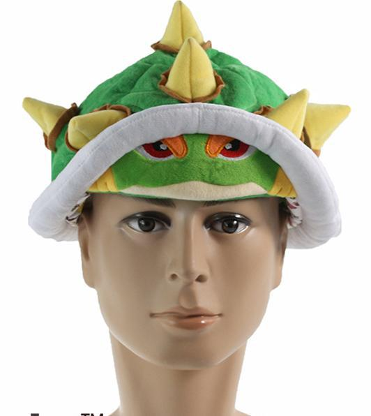 Anime Super Malio Bros Bowser cosplay plush hat Plush green hat free shipping