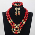 Adorável Red Beads Africanos Jóias Define 14 MM Coral Frisada Nigeriano Conjunto De Jóias de Casamento Banhado A Ouro 16 Cores Frete Grátis WD966