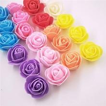 100 шт./лот, искусственные розы, мини, ПЭ пена, голова цветка розы, ручная работа, сделай сам, свадебные украшения для дома, праздничные и вечерние принадлежности