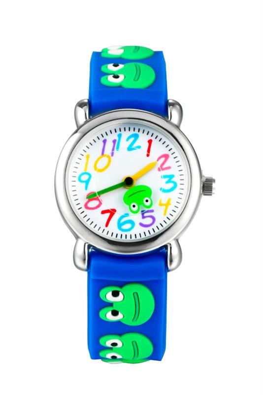 цена на new fashion frog cartoon watch kids watches children boy cool 3d rubber strap quartz watch clock baby hour gift