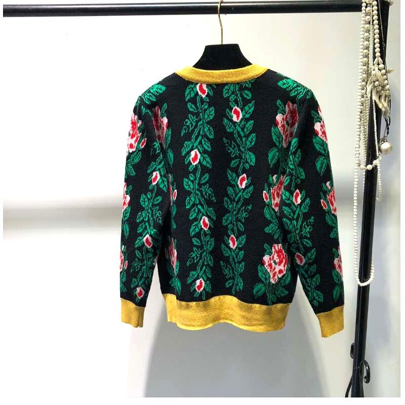 Soie Lumineux Chart Nouveau Bord Col Fonds noir Femme Top D'automne Pulls See Imprimer Or Fleurs Jacquard Hivers Tricots Chandail Rond wOZiPkTuX