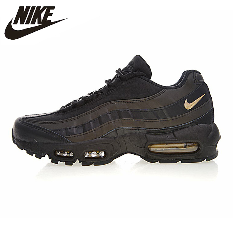 timeless design f9be7 d4c67 NIKE Men s Running Shoes Black Gold Outdoor Sneakers AIR MAX 95 PREMIUM