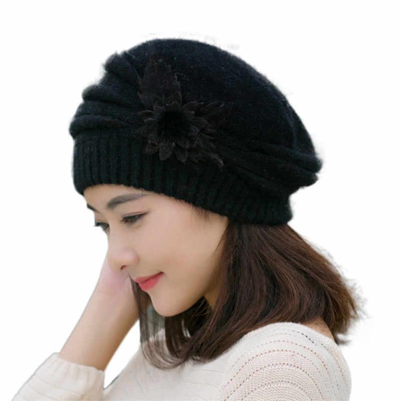 ... Lovely Winter Crochet hats For Women beanie women Flowers Knitted Hat  Beanies Female Hat Chapeu Feminino ... 38ddb6a93f8