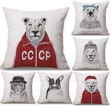 Vintage León Tigre Navidad perro cuello cuerpo funda de almohada de lino cama almohadas cubierta sofá asiento cojín tiro almohada decoración del hogar