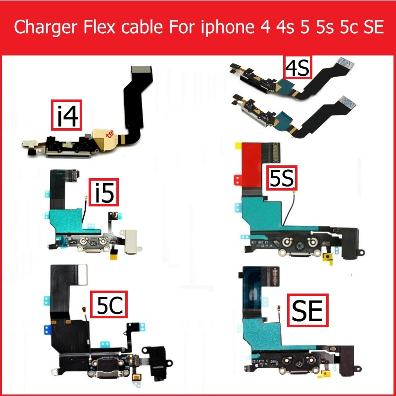 USB Dock Charger Flex Cable For <font><b>iPhone</b></font> 4 4s 5 <font><b>5s</b></font> 5C SE Charging Headphone Audio Jack Port <font><b>Connector</b></font> With Mic Flex Cable Ribbon image