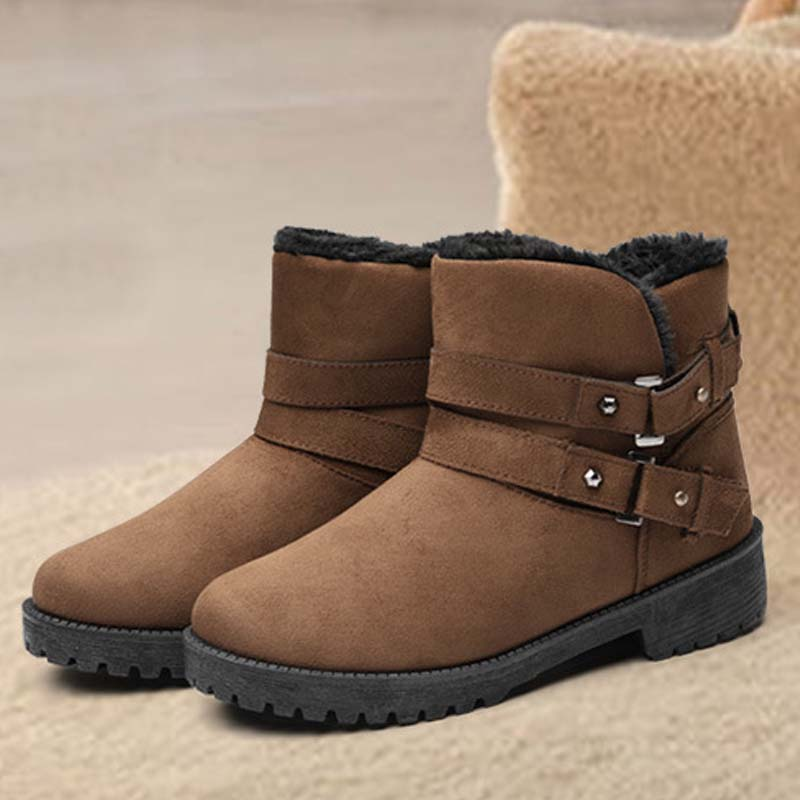 VTOTA Winter Woman Ankle Boots Warm Snow Boots Buckle Strap Solid Platform Non Slip Women Flats Casual Cotton Boots Women Shoes in Ankle Boots from Shoes
