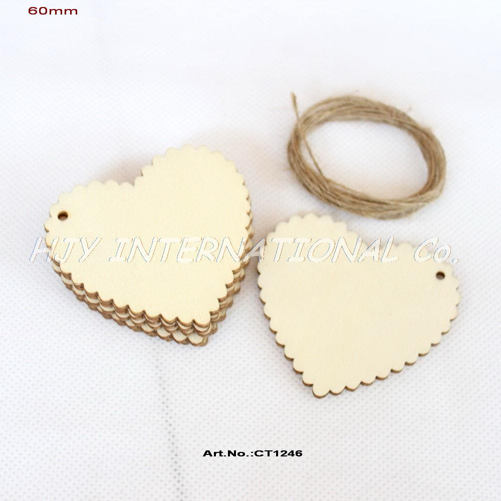 (16pcs/lot) 60mm Blank Unfinished Wooden Heart  Scallop Wedding Tags Supplies With String 2.4