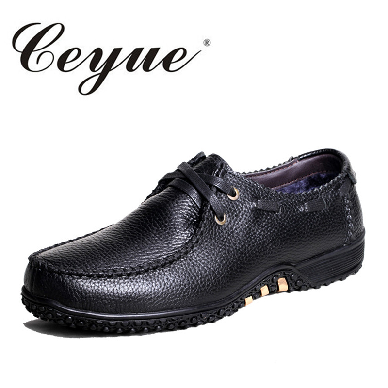 Ceyue Winter Genuine Leather Men Casual Shoes Plus Size 37-47 New Boat Shoes Men Warm Fur Comfortable Men Walking Shoes Moccasin new arrival high genuine leather comfortable casual shoes men cow suede loafers shoes soft breathable autumn and winter warm fur