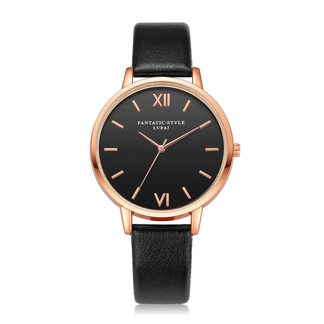 19 Colors LVPAI Casual Business Quartz Watch Womens Rose Gold Dial Leather Strap Quartz Wrist Watches Montre Femme Clock Hours
