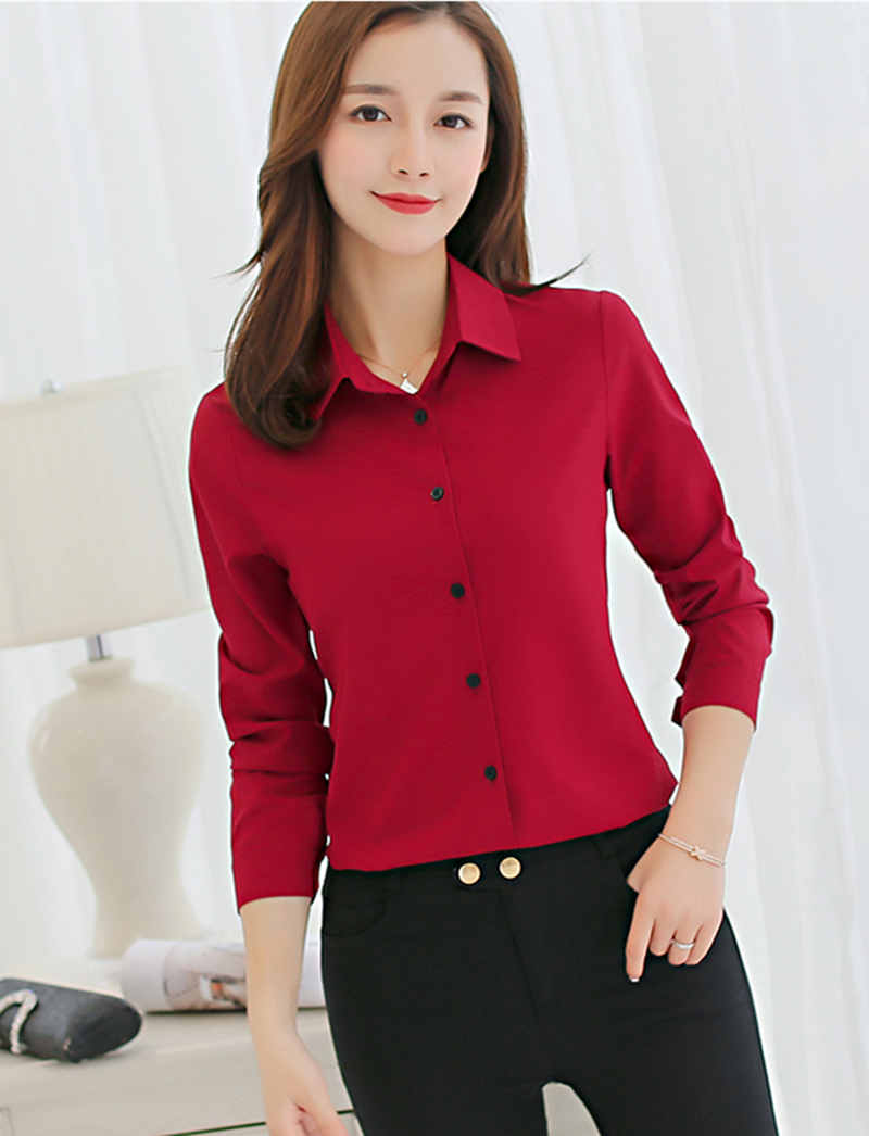 White Blouse Women Chiffon Office Career Shirts Tops Fashion Casual long sleeve blouses Femme Blusa 25 in Blouses amp Shirts from Women 39 s Clothing